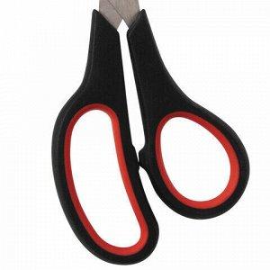 Ножницы STAFF EVERYDAY, 195 мм, бюджет, резиновые вставки, черно-красные, ПВХ чехол, 237499