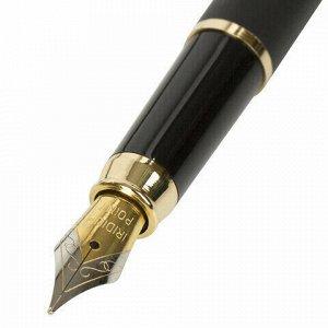 """Ручка подарочная перьевая BRAUBERG """"Brioso"""", СИНЯЯ, корпус черный с золотистыми деталями, линия письма 0,25 мм, 143467"""
