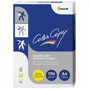 Бумага COLOR COPY GLOSSY, мелованная, глянцевая, А4, 170 г/м2, 250 л., для полноцветной лазерной печати, А++, Австрия, 139% (CIE)