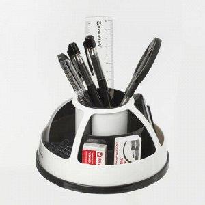 """Канцелярский набор BRAUBERG """"Микс"""", 10 предметов, вращающаяся конструкция, черно-белый, блистер, 236954"""