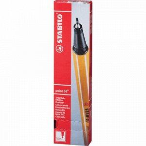 """Ручка капиллярная (линер) STABILO """"Point 88"""", НЕОНОВАЯ КРАСНАЯ, корпус оранжевый, линия письма 0,4 мм, 88/040"""