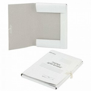 Папка для бумаг с завязками картонная мелованная BRAUBERG, 440 г/м2, до 200 листов, 110925