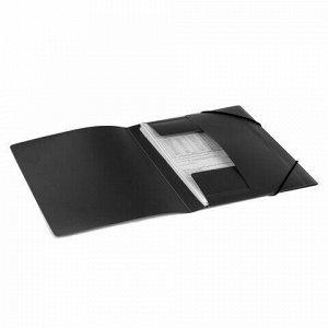 Папка на резинках BRAUBERG, стандарт, черная, до 300 листов, 0,5 мм, 221624