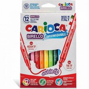 """Фломастеры двухсторонние CARIOCA (Италия) """"Birello"""", 10 цветов, 2 пишущих узла 2,5 и 5 мм, суперсмываемые"""