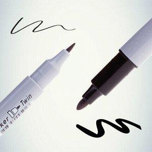"Маркер перманентный CROWN двусторонний ""Multi Marker Twin"", ЧЕРНЫЙ, скошенный наконечник, 2 мм/1 мм, P-800W"