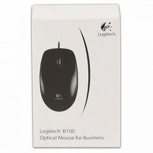 Мышь проводная LOGITECH B100, USB, 2 кнопки + 1 колесо-кнопка, оптическая, черная, 910-003357