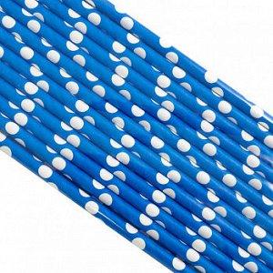 Палочки бумажные Синяя в Белый горох 200*6 мм, 25 шт