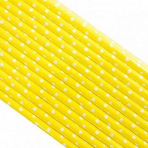 Палочки бумажные Желтая в Белый горох 200*6 мм, 25 шт