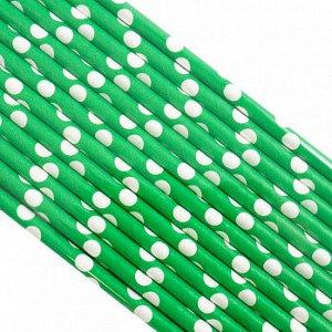 Палочки бумажные Зеленая в Белый горох 200*6 мм, 25 шт