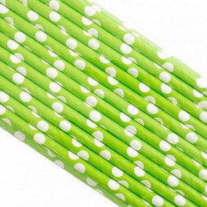 Палочки бумажные Салатовая в Белый горох 200*6 мм, 25 шт