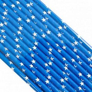 Палочки бумажные Синяя Белые Звезды 200*6 мм, 25 шт