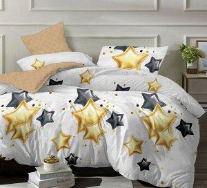 Комплект из Поплина  2 спальный с простыней на резинке