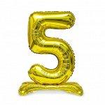 """Шар ЦИФРА 5 32"""" на подставке золото 80 см /К"""