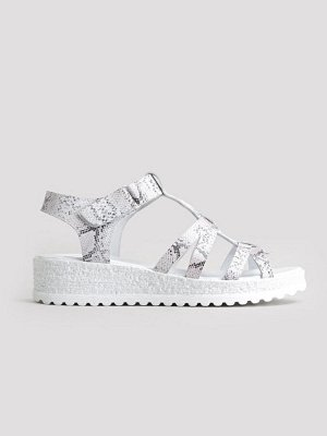 Туфли открытые летние женские, серебро