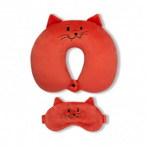 Подушка для шеи с маской для сна.Оранжевый