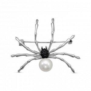 Брошь-подвеска из серебра с культ.жемчугом и фианитами родированная - Паук Бр-130р1005216