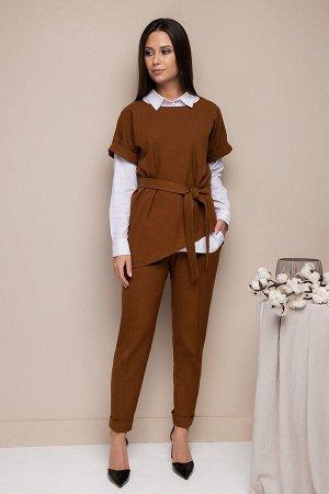 Костюм Костюм Daloria 9095 коричневый  Состав ткани: ПЭ-100%;  Рост: 164 см.  Костюм: жакет и брюки. Жакет-жилет из мягкой экошерсти, со спущенным плечом и отложной манжентой по низу проймы. Низ жаке
