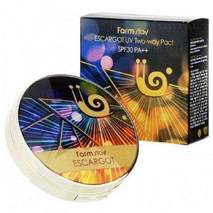 Компактная пудра +запаска с экстрактом королевской улитки FarmStay Escargot UV Two-Way Pact SPF30 PA++, 12g*2