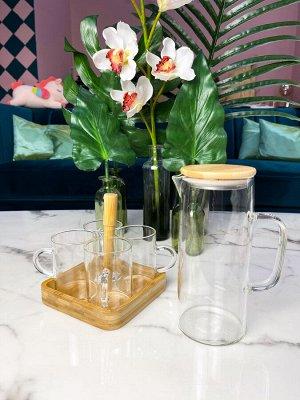 Набор: графин и стаканы на подставке, термо стекло, бамбук