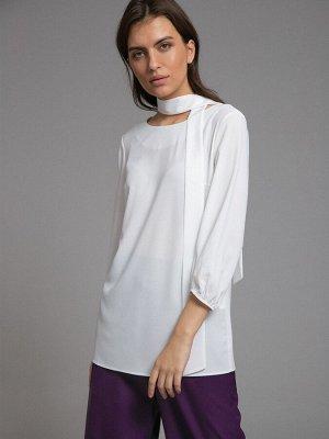 Блузка Состав ткани: Полиэстер 77%, Вискоза 20%, Эластан 3% Длина: 69 См. Описание модели Молочная однотонная блузка прямого кроя. Модель имеет воротник-бант, круглый вырез горловины, втачной рукав 3/