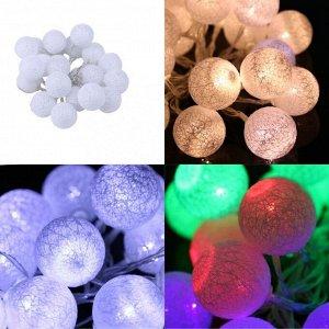 Светодиодная LED гирлянда Шарики из ниток розовое свечение