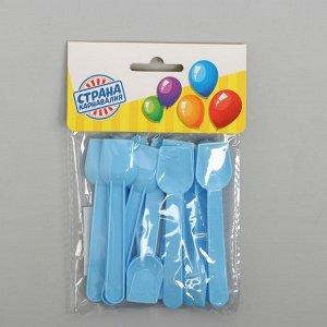 Ложки пластиковые, набор 12 шт., цвет голубой