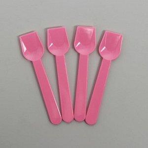 Ложки пластиковые, набор 12 шт., цвет розовый