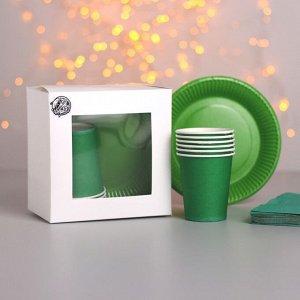 Набор бумажной посуды «Сочный зелёный», 6 стаканов, 6 тарелок, 20 салфеток, скатерть