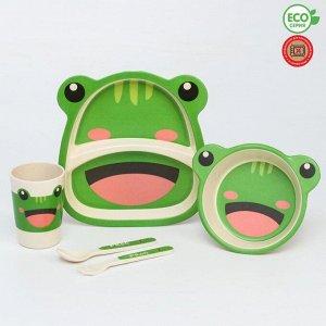 Набор бамбуковой посуды «Лягушка», 5 предметов: тарелка, миска, стакан, вилка, ложка