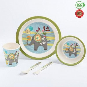 Набор детской бамбуковой посуды «Слоник», тарелка, миска, стакан, приборы, 5 предметов