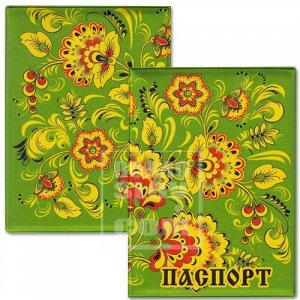 """Обложка для паспорта """"Зеленые с цветочками"""""""