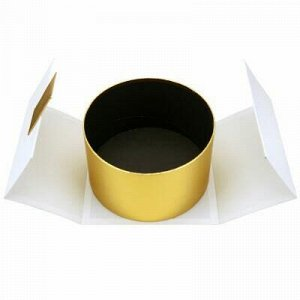 """Коробка подарочная 22х22х13см """"Круг"""" золотой в белой коробке"""