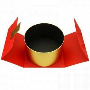 """Коробка подарочная 22х22х13см """"Круг"""" золотой в красной короб"""