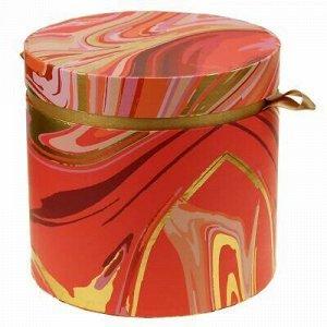 """Коробка подарочная д20х18,8см """"Акварель"""" розовые тона, с зол"""