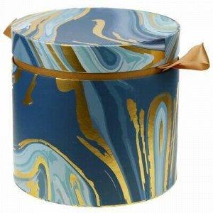 """Коробка подарочная д20х18,8см """"Акварель"""" синие тона, с золот"""
