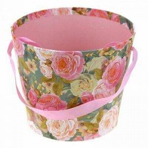 "Коробка подарочная для цветов д15,5х13см ""Розарий"" с ручкой"