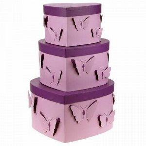 Коробка подарочная, набор 3 штуки: 19х18х12см; 24х22х13,5см;