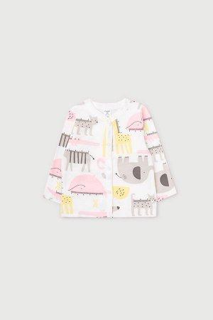 Кофточка(Весна-Лето)+baby (розовые звери линейки на сахаре)