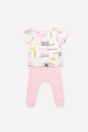 Комплект(Весна-Лето)+baby (звери линейки, карамельно-розовый)