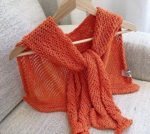 """Шарф-накидка женский, """"сеточка"""", цвет оранжевый"""