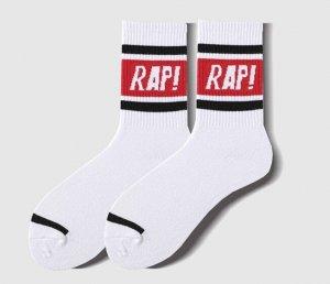 """Носки унисекс, принт """"RAP!"""", цвет белый/красный"""