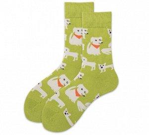 """Носки унисекс, принт """"собаки"""", цвет зеленый"""