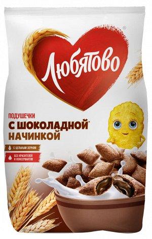 """Готовый завтрак """"Любятово"""" Подушечки с шоколадной начинкой, пакет,175 г"""
