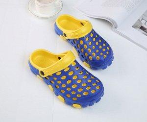 Мужские летние кроксы двухцветные, цвет синий и желтый