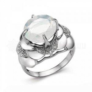 Кольцо из серебра с лунным камнем и фианитами родированное К-3303р20