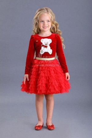 Платье,дл.рук, бархат-стрейч,пышная юбка-воланы, аппликация  мишка   Н.год  м.Леди