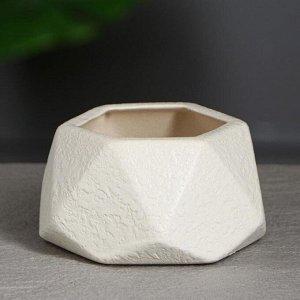 """Горшок для цветов """"Оригами """" 0.3л. кожа . белое"""