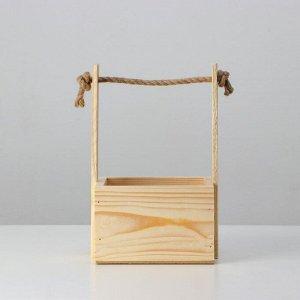 """Кашпо деревянное, 15?12?9,5(25) см """"С Днём Рождения"""", ручка верёвка, гравировка"""