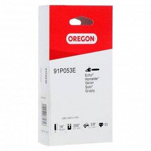 """Цепь для бензопилы OREGON 91P053E, низкопрофильная, 14"""", шаг 3/8"""", паз 1.3 мм, 53 звена"""