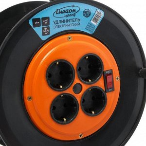 Удлинитель на катушке Luazon Lighting, 4 розетки, 25 м, 10 А, ПВС 3х0.75 мм2, с з/к, IP20